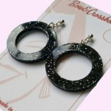 Linda Hoop Earrings Black Glitter 1