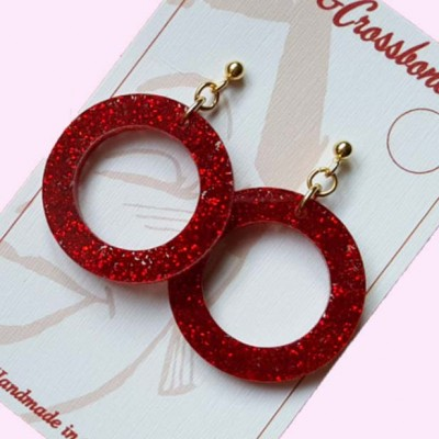 Linda Hoop Earrings Red Glitter