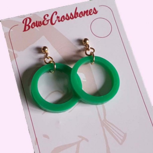 Small Drop Hoop Earrings Green