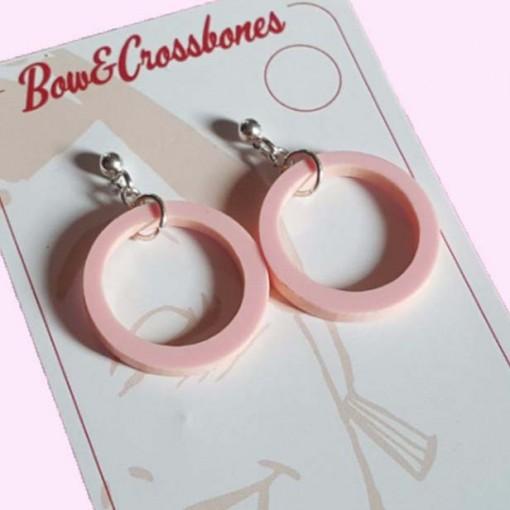 Small Drop Hoop Earrings Pale Pink