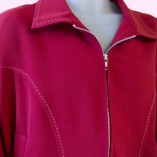 Gab Jacket Blade Red with Stitching close up
