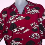 Short Sleeve Red with Black Pattern Close up