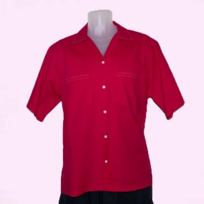 Short Sleeve Shirt Red with Stitching