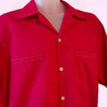 Short Sleeve Shirt Red with Stitching close up