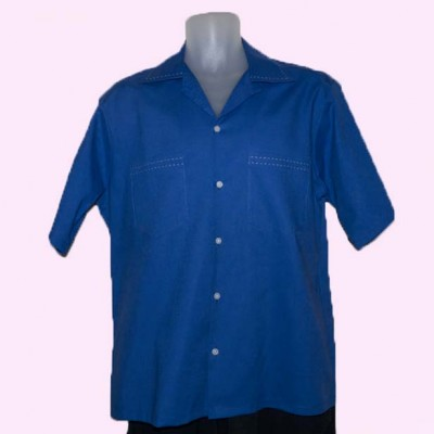 Short Sleeve Shirt Royal Blue with Stitching
