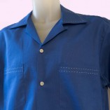 Short Sleeve Shirt Royal Blue with Stitching close up