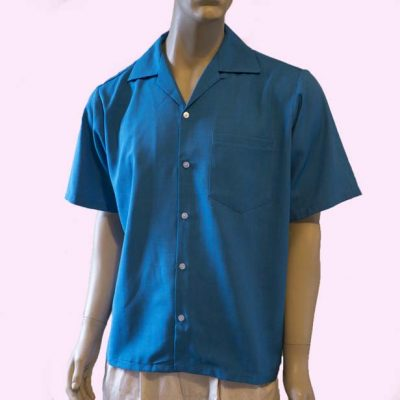 short-sleeve-blue-with-narrow-gold-stripe