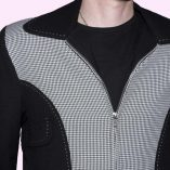 Gab Jacket Blade Black & Dogtooth close up