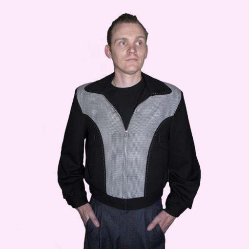 Gab Jacket Blade Black & Dogtooth front