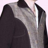 Gab Jacket Blade Brown & Brown Squares close up
