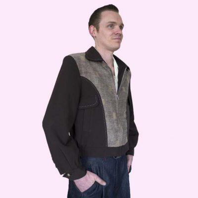 Gab Jacket Blade Brown & Brown Squares on model