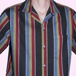 Short Sleeve Blue & Black Stripe close