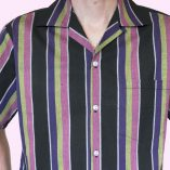 Short Sleeve Pink & Black Stripe close