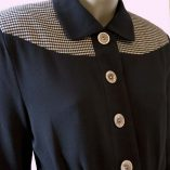 Womens Buttoned Gab Black & Dogtooth top