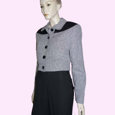 Womens Buttoned Gab Grey Boucle & Black Cord