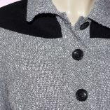 Womens Buttoned Gab Grey Boucle & Black Cord close up