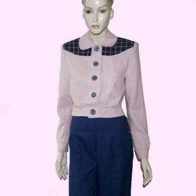 Womens Buttoned Gab Pink & Navy check front