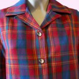 Womens Pendleton Red & Blue Tartan close up