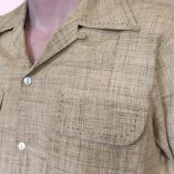 Gab Shirt Beige Linen Fleck stitched close