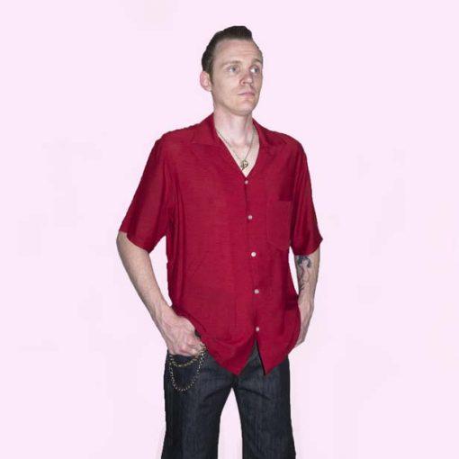 Short Sleeve Dark Red Crepe Shirt