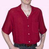 Short Sleeve Dark Red Crepe Shirt tucked 1