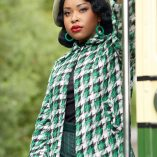 Swing Coat Green Check on model
