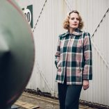 Swing Coat Pink & Green check on model