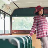 Swing Coat Red Check on model