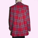 Swing Coat Red Check with Blue stripe back