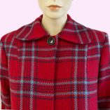 Swing Coat Red Check with Blue stripe top