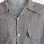 Gab Shirt Grey Fleck wirh stitching close up
